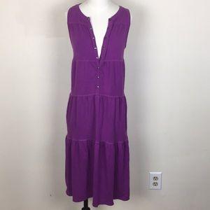 Athleta Plum Snap Button Midi Dress
